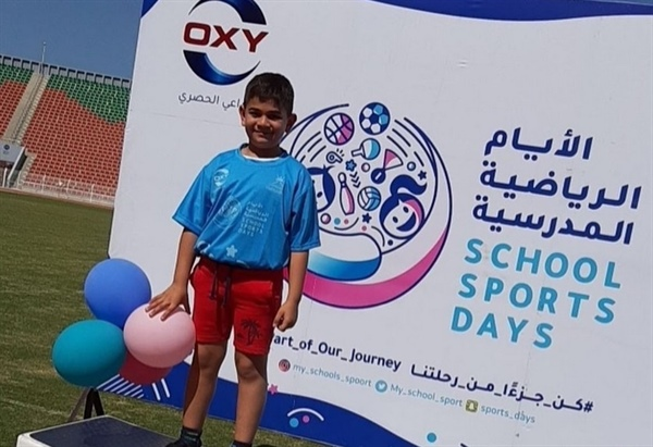 Student Abdullah Al-Zadjali achieved third place in the running race among the Sutante's private schools