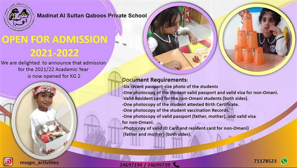 MSQPS KG2 Admission is now open for the next Academic Year 2021-2022